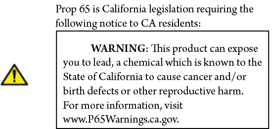 Prop 65 Notice to CA Residents